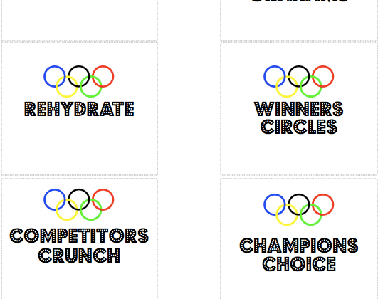 Printable Food Cards Snack Table Labels Olympics