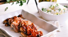 Easy Pork Recipes - Sweet Garlic Pork Loin with Ginger Glaze & Pineapple Cilantro Rice
