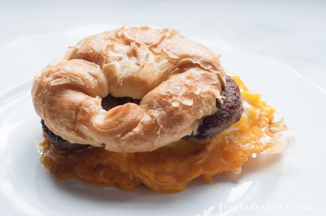 Delicious Recipes Cheese Recipes - Sausage Egg and Cheese Croissants, Breakfast Ideas with real, fresh cheese via Misty Nelson @frostedevents
