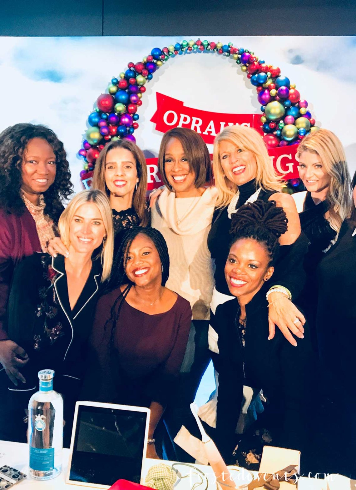 Oprah's Favorite Things 2017 party was last Thursday and I had the unbelievable opportunity to attend and reveal a very exciting secret I've been dying to share. Here's a look at what it's like to be a guest at the best holiday party ever!....  As an OMagazine Insider I get invited to participate in some pretty cool experiences. But never in my wildest dreams did I imagine that I would be invited to Oprah's Favorite Things party! Ya'll, I'm still completely in shock and covered in bruises from pinching myself about a million times. Oh, how I wish you could have seen the happy dance that I did when I opened the email invitation. It would be a viral video for sure. Something comparable to lottery ticket winners or Justin Beiber fans who find out they're going to get to meet the Biebs backstage. There was screaming, lots of screaming... and even tears of joy. Maybe wails of joy, sobs. Ok, I was a sobbing, wailing, ecstatic hot mess. It was truly that exciting! Here we are in the elevator on our way up to the party. I adore my  OMag Insiders tribe! It's such a wonderful group of inspiring ladies from all walks of life. They are creative, brilliant, funny, strong and successful as hell. But what really makes them special is the love and support they so generously share with each other. I'm so blessed to be a part of this family! My heart was racing as we made our way into the room. You could feel the buzz of excitement walking in, a mix of media and marketers, executives and a few celebrities too! Our fabulous elf Cara guided us to our table by the stage before giving us a mini tour of the party. A cocktail bar featuring Oprah's favorite tequila, Casa Dragones was serving up drinks at the back. Guests were taking pics with the life-size replica of the December O Magazine photo stand-in. I grabbed a cocktail, some nibbles from the delicious food spread and a cupcake (or two!) and mingled a bit before the show began. Gayle King and Adam Glassman were our hosts for the even