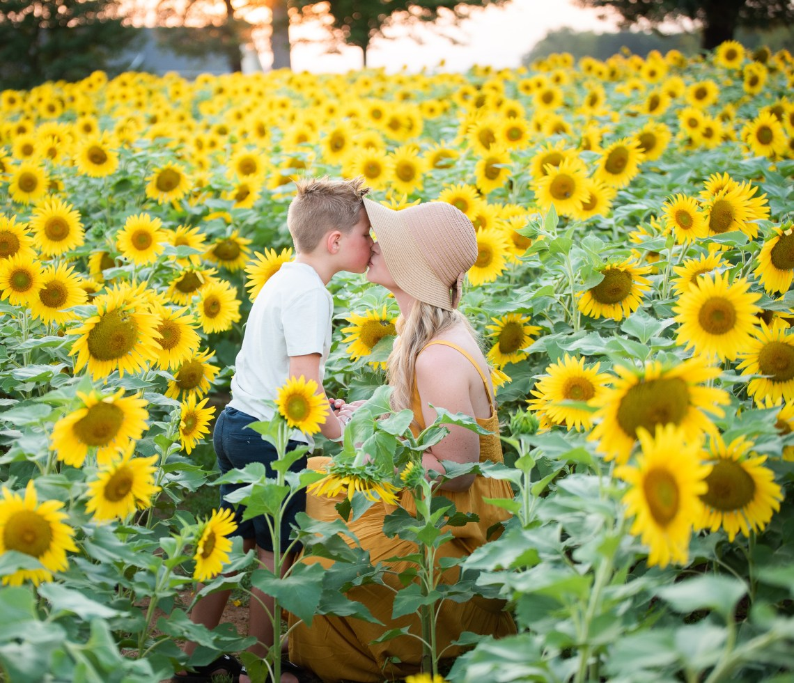 Sunflower fields near me - Sunflower field photos by Yasmin Leonard Photography, NC family photographer - Misty Nelson family photos, blogger @frostedevents