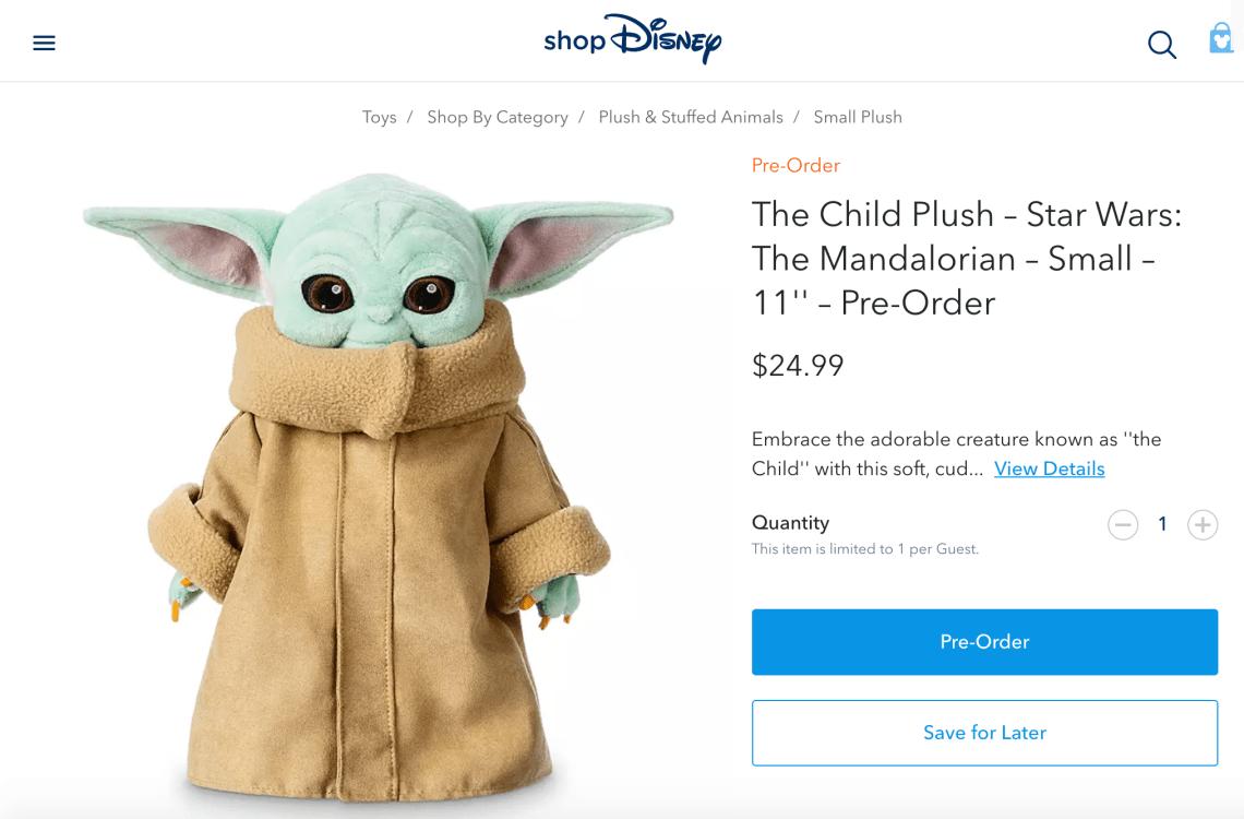 Baby Yoda Plush Doll from Disney, the Child. Mandalorian merchandise