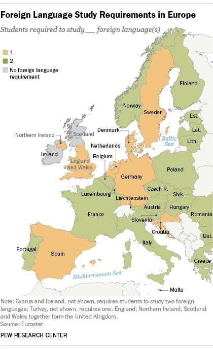 Map of Foreign Language Study Requirement in Europe