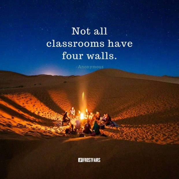 inspirational quote by an Anonymous Author over image of outdoor gathering around bonfire