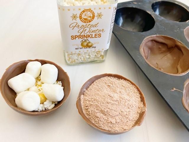 process shot of hot chocolate bombs