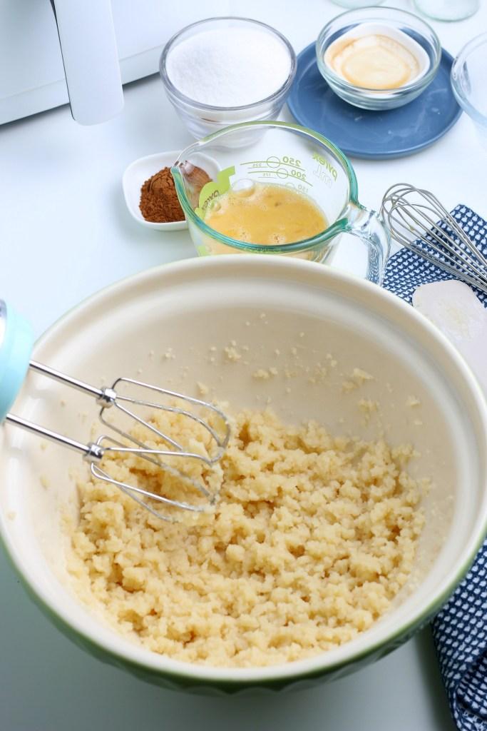 process shot of air fryer churros