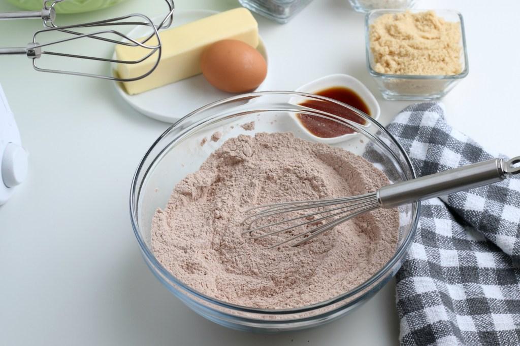 process shot of hot chocolate cookies