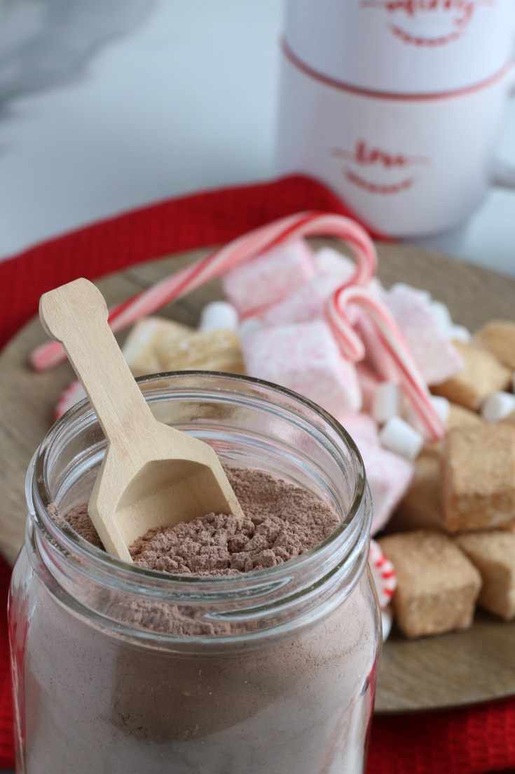 close up shot of glass jar with homemade hot chocolate mix