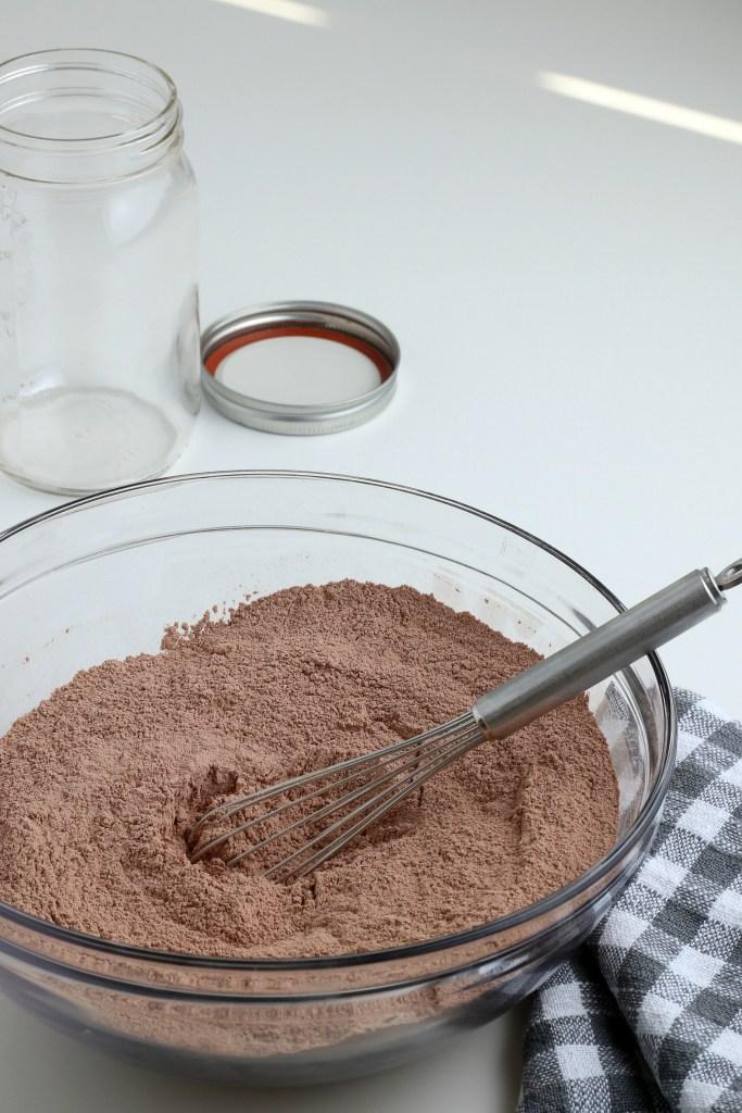 process shot of homemade hot chocolate mix