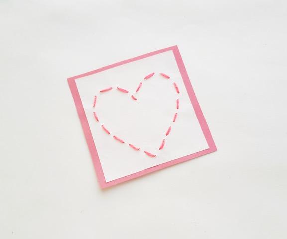 Final project photo of heart stitch craft
