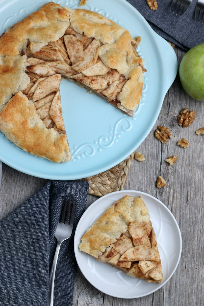 overhead shot of apple crostata with a slice removed