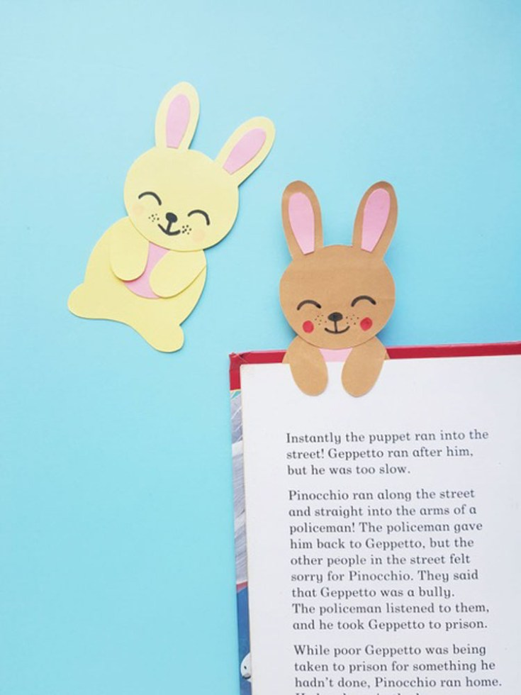 bunny bookmark on page of book