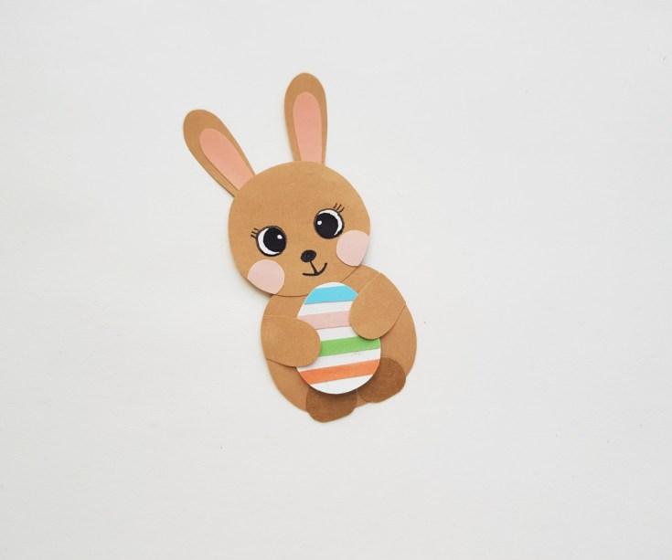 Easter bunny holding egg paper craft finished