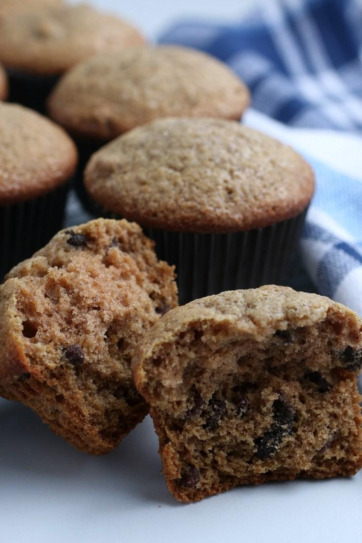 close up of broken applesauce muffins