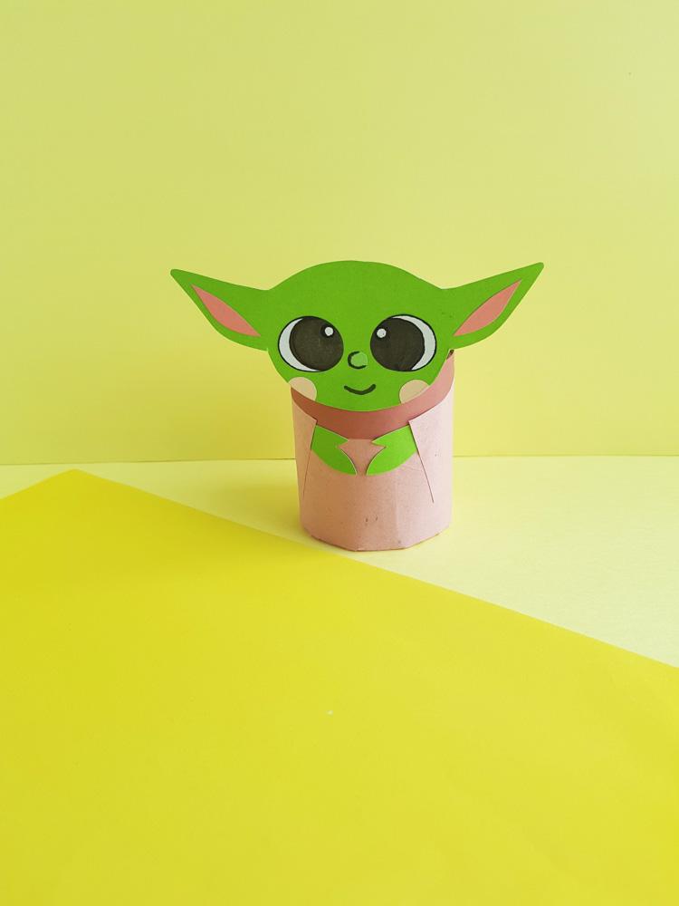 Baby Yoda Toilet Papercraft on yellow background