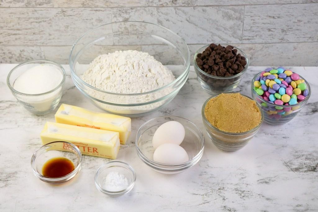 ingredients for easter m&m cookies