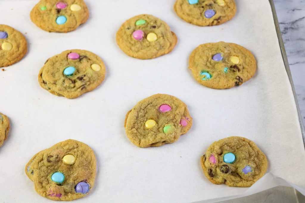 process shot of easter m&m cookies