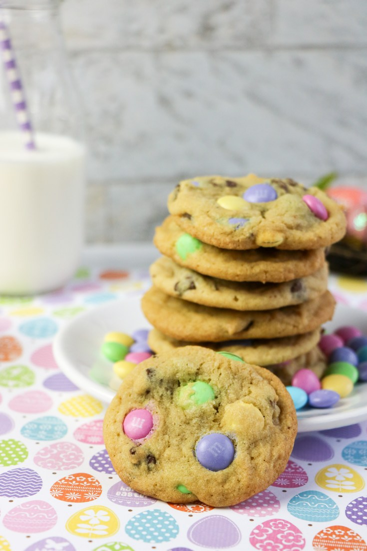 easter m&m cookies with spring colored m&m's