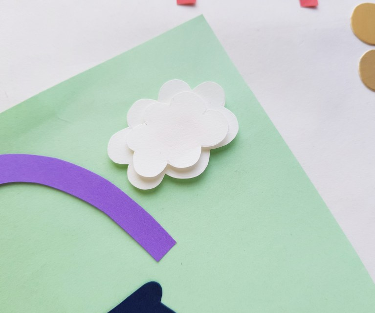 White clouds added to pot of gold and rainbow papercraft