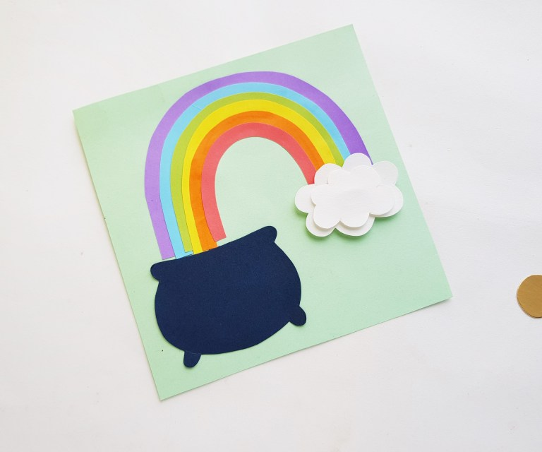 finished papercraft with pot of gold and rainbow