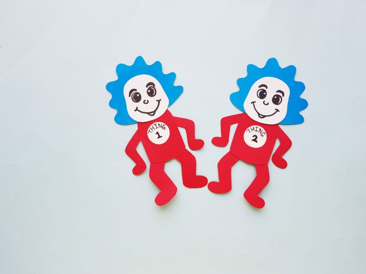Thing 1 and thing 2 papercraft