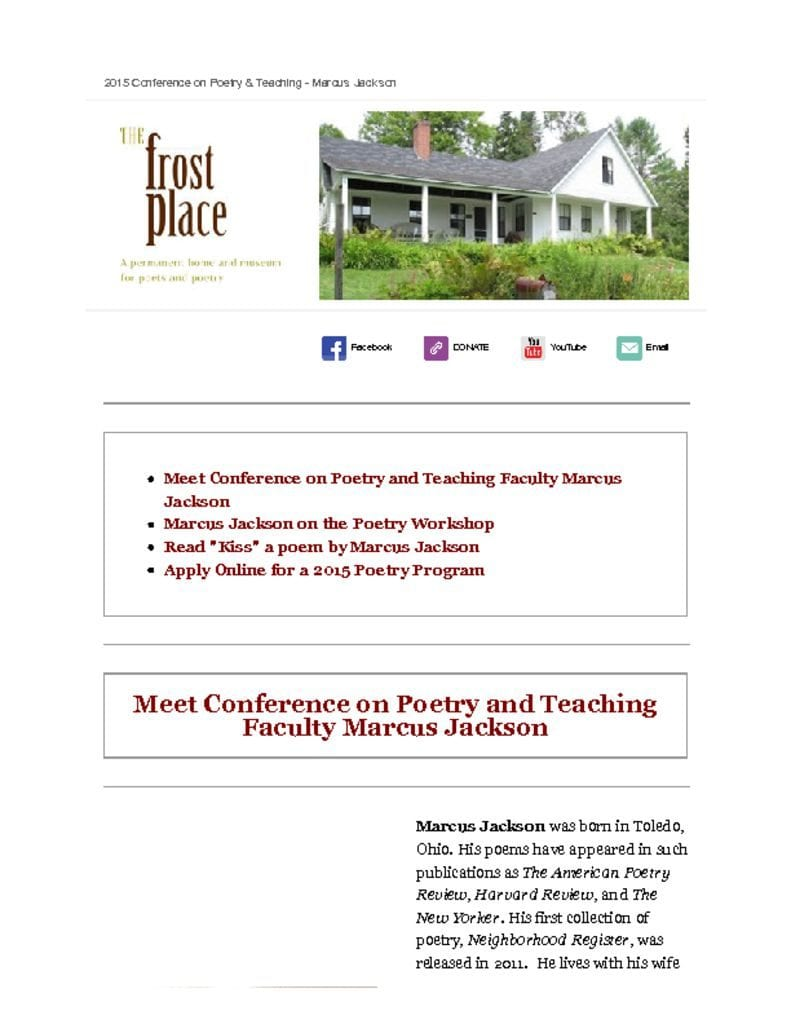 The Frost Place Newsletter Marcus Jackson