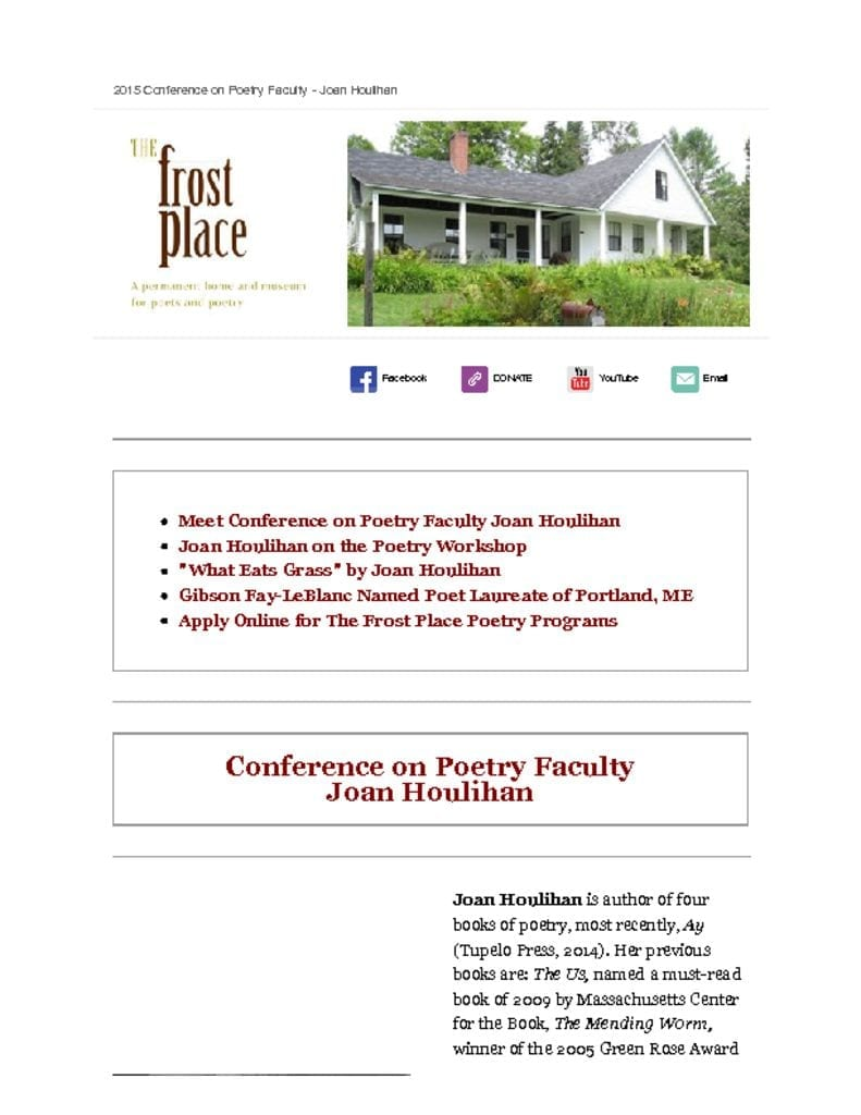 The Frost Place Newsletter Joan Houlihan Poetry Writing Faculty