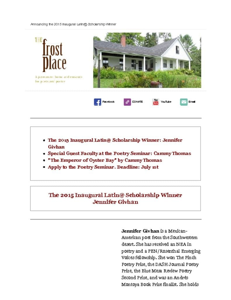 The Frost Place Latin@ Scholarship
