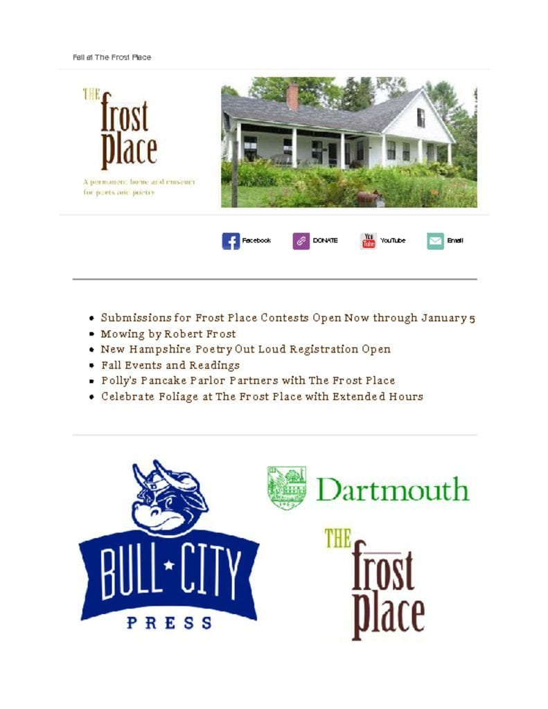 The Frost Place Newsletter Competitions