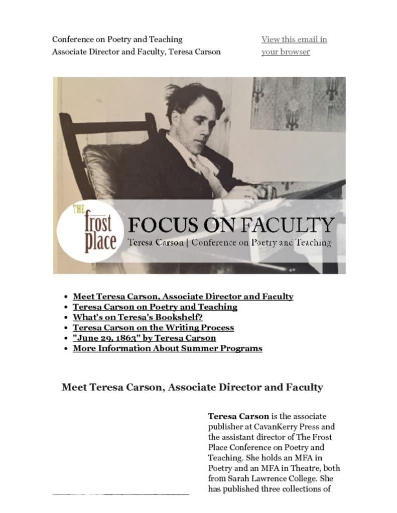 The Frost Place Newsletter Teresa Carson