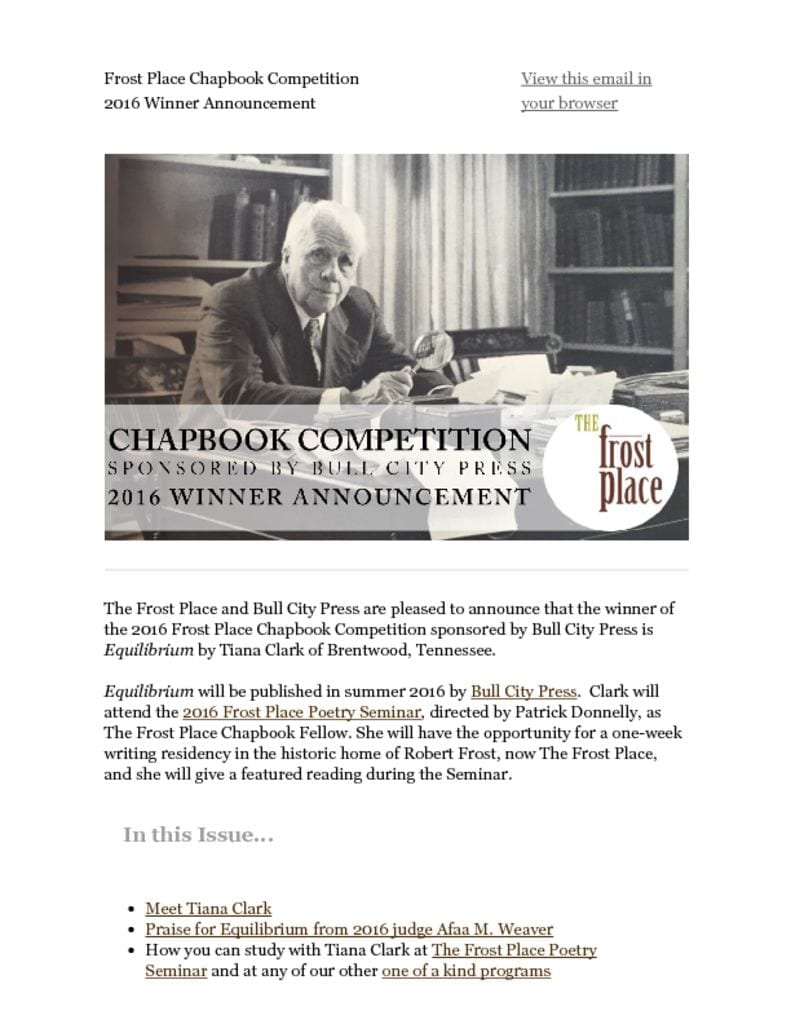 The Frost Place Chapbook Competition Bull City Press Tiana Clark