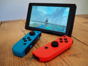 Nintendo Switch with detached Joy-Con controllers