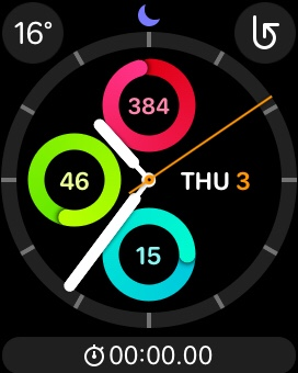 The Activity watch face on the Apple Watch, showing the current time and 'scores' for each of the watch's three daily activity goals: Move, Exercise, and Stand.