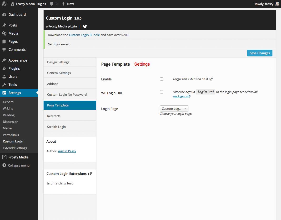 Custom Login Page Template plugin for WordPress
