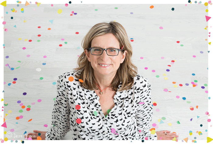 Clare Burgess Frou Frou Days owner portrait shot with confetti