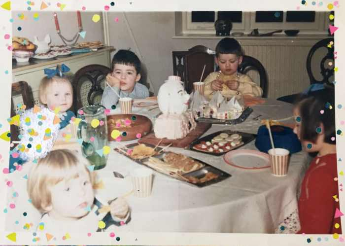 1960s tea party with children and humpty dumpty cake including Clare Burgess