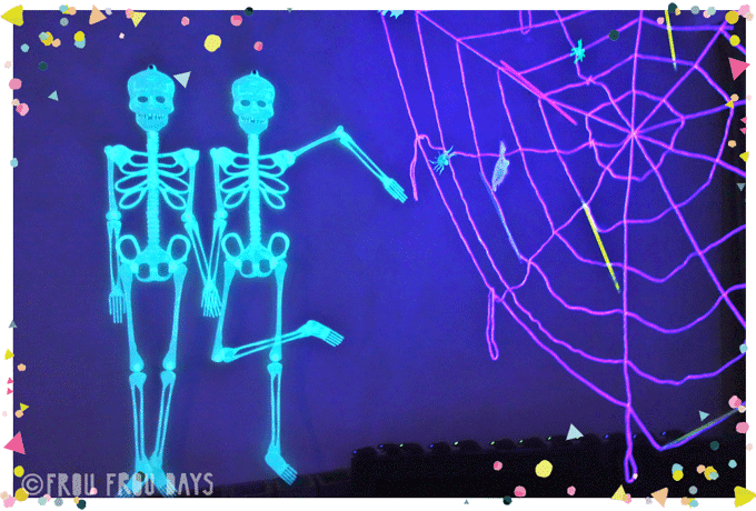 Glow in the dark skeletons and spider webs halloween party