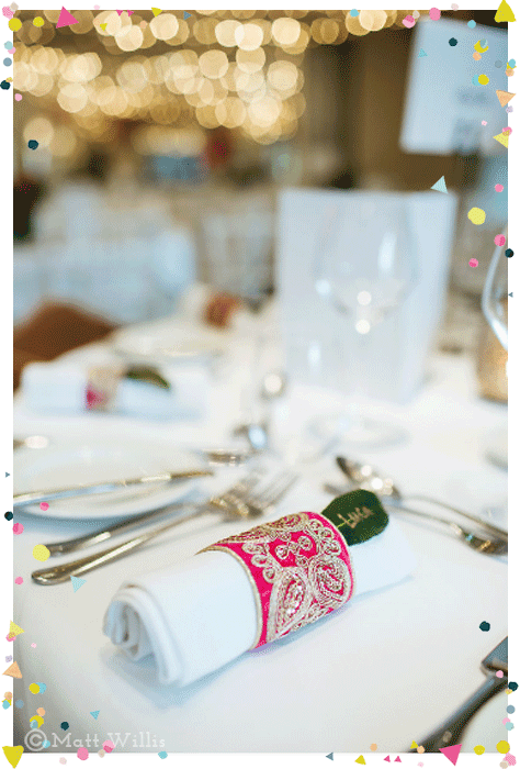 Bollywood English fusion wedding embroidered napkin ring