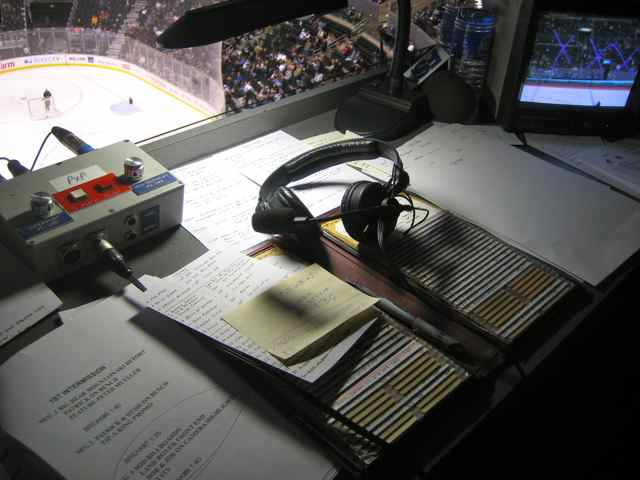 Miller's headset, monitor, game notes and other materials used during LA Kings television broadcasts. Photo courtesy Stacy Iwata