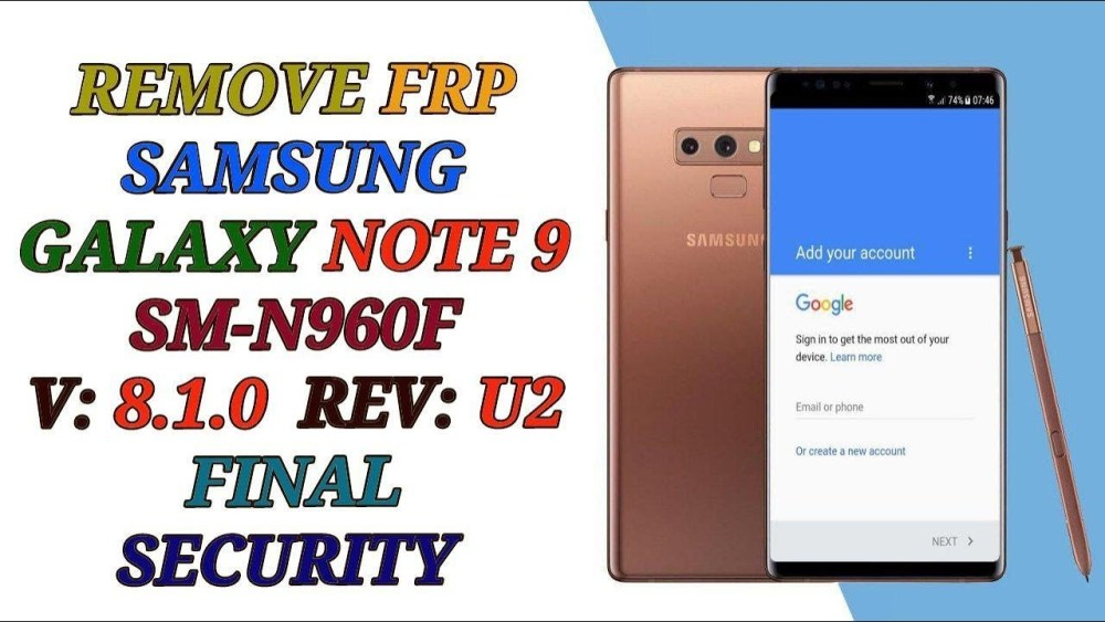 remove frp note 9 n960f u done wihout pc in combination 2