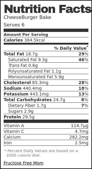 Nutrition label for CheeseBurger Bake