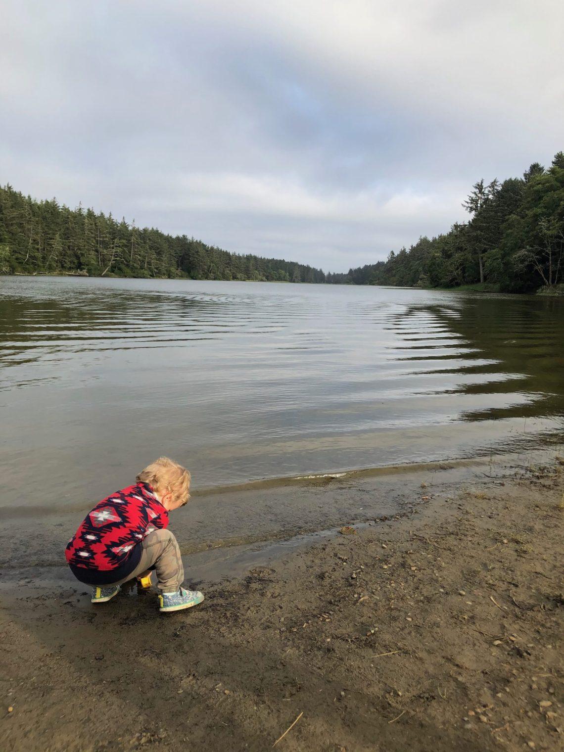 playing at the lake Oregon coast