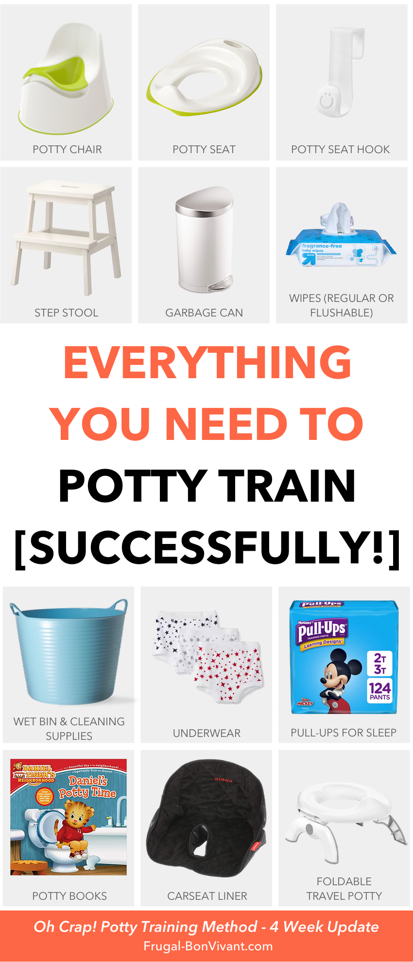 Potty Training Essentials - supplies for the Oh Crap potty training method