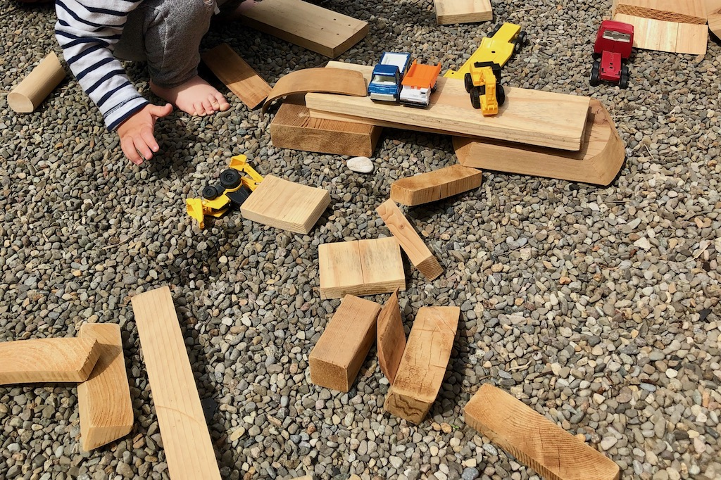 diy wood blocks for outdoor play bridges truck ramps