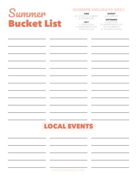 Summer Bucket List download printable