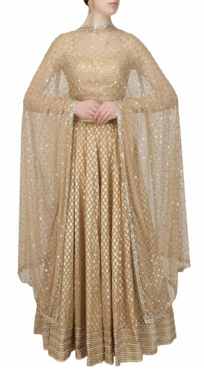 Beige and gold gota patti lace lehenga