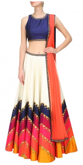Ivory, blue and shades of orange sequins embroidered lehenga