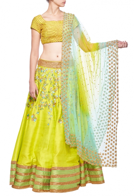 Lime green & sea green floral embroidered lehenga