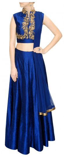 Electric blue floral embroidered lehenga
