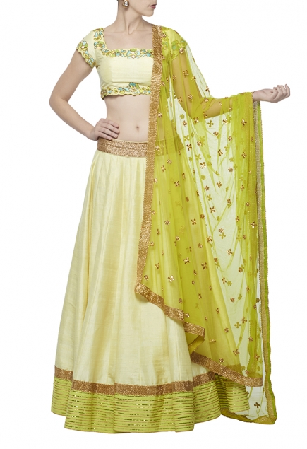 Pale yellow & lime green embroidered lehenga